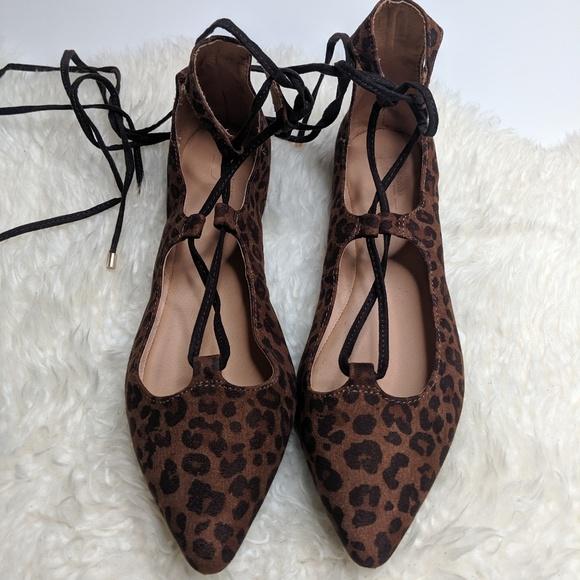 8c3bb7918a7 LOFT Leopard Print Ballerina Lace Up Flats Pointed
